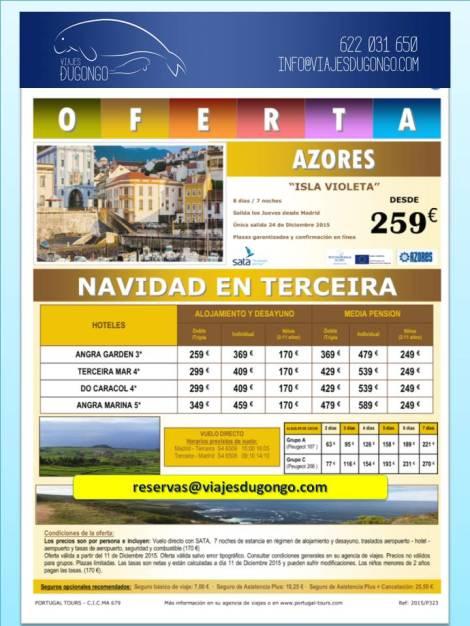 Folleto salida 24 Diciembre, último minuto, Islas Azores, Isla Terceira