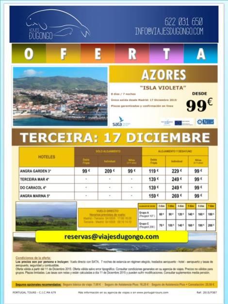 Folleto último minuto viaje a Islas Azores - Terceira - Isla Violeta