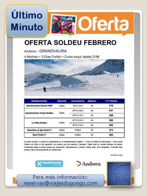 Oferta de esquí Soldeu,Grandvalira,Andorra