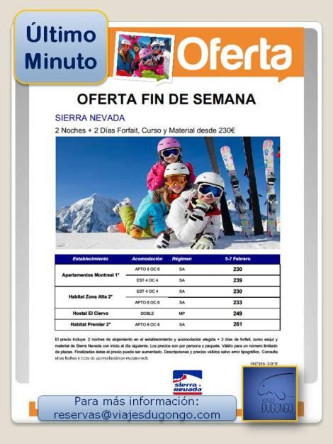 Oferta de esquí en Febrero en Sierra Nevada,esquí barato en fin de semana en Sierra Nevada