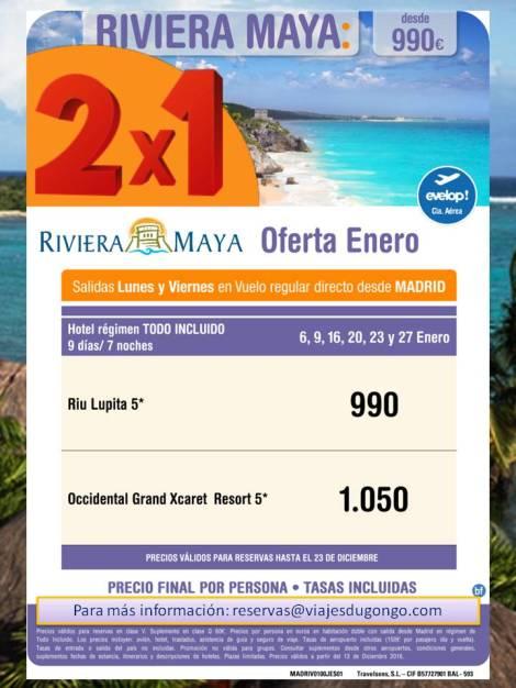Oferta 2X1 Enero Riviera Maya desde 990. Salidas Lunes y Viernes desde Madrid