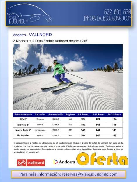 Vallnord Fines de semana Enero: 2 noches + 2 días de forfait desde 124€
