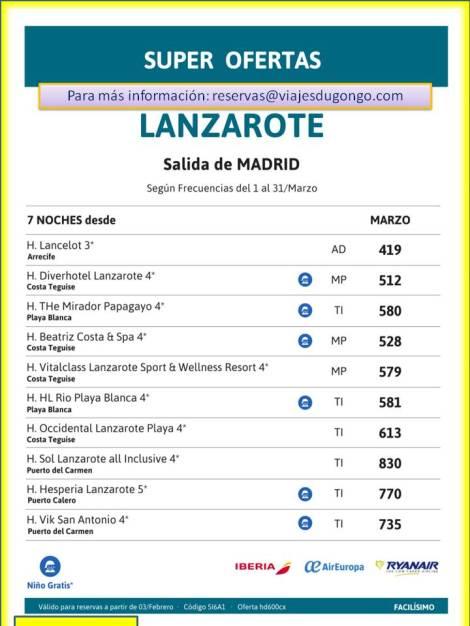 El mejor precio para viajar a Lanzarote