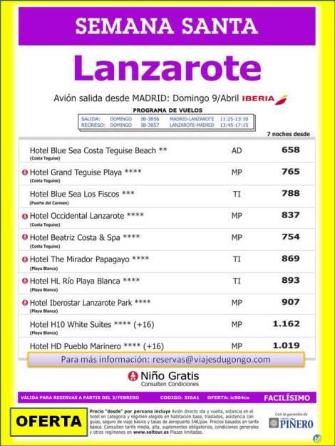 Mejor precio de viaje en Semana Santa a Lanzarote