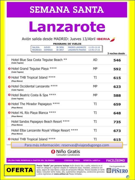 Lanzarote - Semana Santa desde 546 €, salida 13 de Abril desde Madrid.